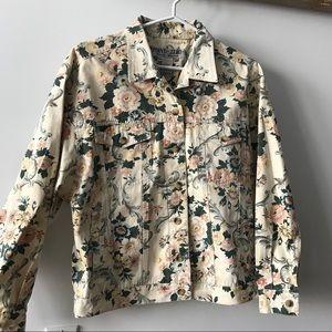 Oversized floral jean jacket